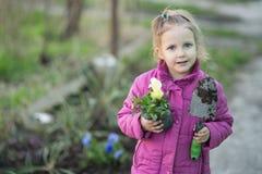 Οι βοήθειες κοριτσιών φυτεύουν τα λουλούδια στοκ φωτογραφίες