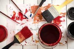 οι βούρτσες τέχνης χρωματίζουν τα χρώματα Στοκ εικόνα με δικαίωμα ελεύθερης χρήσης