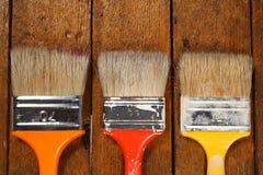 οι βούρτσες χρωματίζουν τρία Στοκ εικόνα με δικαίωμα ελεύθερης χρήσης