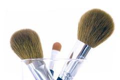 οι βούρτσες makeup θέτουν τρία Στοκ Φωτογραφία