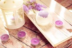 Οι βόμβες λουτρών με lavender ανθίζουν χειροποίητο Στοκ εικόνα με δικαίωμα ελεύθερης χρήσης