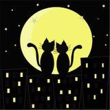 οι γάτες γατών η αγάπη απεικόνισης καρδιών Στοκ Φωτογραφία