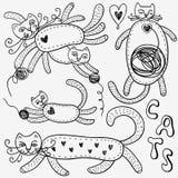 Οι γάτες doodles θέτουν Στοκ Εικόνες