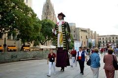 Οι γίγαντες παρελαύνουν στη Βαρκελώνη το φεστιβάλ το 2013 Λα Mercè Στοκ Φωτογραφία