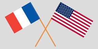 Οι γαλλικές και Ηνωμένες διαπραγματεύσεις Σημαίες που διασχίζονται διάνυσμα Στοκ Φωτογραφία