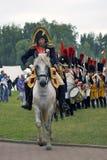 Οι γαλλικοί στρατιώτες στρατού σε Borodino μάχονται την ιστορική αναπαράσταση στη Ρωσία Στοκ Εικόνες