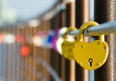 Οι γαμήλιες κλειδαριές αγάπης είναι σε μια σειρά Στοκ φωτογραφίες με δικαίωμα ελεύθερης χρήσης