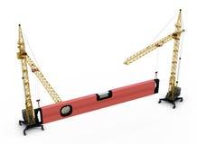 Οι γερανοί κατασκευής βελτιώνουν το επίπεδο κατασκευής Στοκ Εικόνα