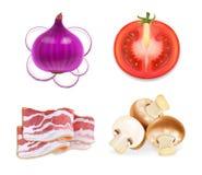 Οι γεύσεις τροφίμων για τα πρόχειρα φαγητά, το κρεμμύδι, το μπέϊκον, τα μανιτάρια και την ντομάτα δοκιμάζουν το τρισδιάστατο ρεαλ Στοκ Εικόνες