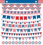 Οι γιρλάντες υφασμάτων ΑΜΕΡΙΚΑΝΙΚΟΥ εορτασμού σημαιοστολίζουν το οριζόντια εθνικό σύνολο για μέσα Στοκ Εικόνες