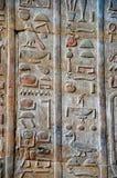 Οι γλυπτικές στον εσωτερικό τοίχο του ναού Edfu, αυτό είναι μια από τις καλύτερα συντηρημένες λάρνακες στην Αίγυπτο, που αφιερώνε Στοκ Εικόνα