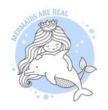 Οι γοργόνες είναι πραγματικές Πριγκήπισσα και δελφίνι απεικόνιση αποθεμάτων