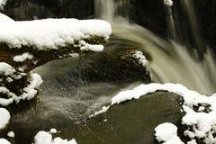 Οι γρήγορα ρέοντας όχθεις ποταμού έντυσαν στα κρύσταλλα χιονιού και πάγου στοκ φωτογραφία με δικαίωμα ελεύθερης χρήσης