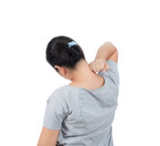 οι γυναίκες έχουν τον πόνο λαιμών Στοκ Φωτογραφίες