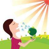 Οι γυναίκες αναπνέουν το οξυγόνο στην καθαρή φύση η γη σώζει διανυσματική απεικόνιση
