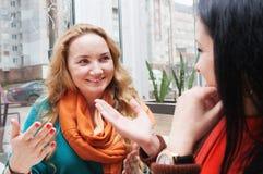 Οι γυναίκες κουτσομπολεύουν στον καφέ Στοκ Εικόνες