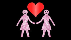2 οι γυναίκες κρατούν χέρι-καρδιά-διαφανής απόθεμα βίντεο