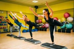 Οι γυναίκες ομαδοποιούν σχετικά με το βήμα το αεροβικό workout στοκ εικόνες με δικαίωμα ελεύθερης χρήσης