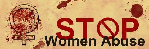 Οι γυναίκες στάσεων κάνουν κακή χρήση του εμβλήματος Grunge Στοκ εικόνα με δικαίωμα ελεύθερης χρήσης
