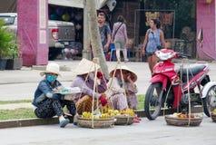 Οι γυναίκες στην αγορά του Βιετνάμ πωλούν τα φρούτα Στοκ Εικόνες
