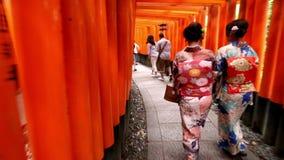 Οι γυναίκες στον ιαπωνικό ιματισμό ύφους γκείσων περπατούν μέσω Fushimi Inari στο Κιότο, Ιαπωνία φιλμ μικρού μήκους