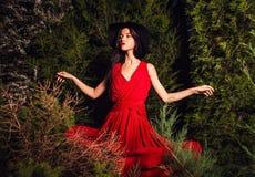 Οι γυναίκες brunette ομορφιάς στο κόκκινα φόρεμα & το καπέλο θέτουν τη νύχτα το πάρκο Στοκ Εικόνες
