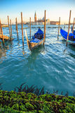 Οι γόνδολες που δένονται από το σημάδι Αγίου τακτοποιούν με την εκκλησία SAN Giorgio Di Maggiore στο υπόβαθρο - Βενετία, Venezia, στοκ εικόνα