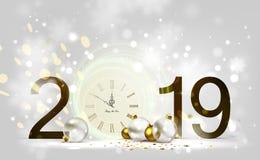 Οι διακοπές λάμπουν ελαφρύ υπόβαθρο και εορταστικά μπιχλιμπίδια Νέα μεσάνυχτα έτους στο ρολόι 2019 διανυσματική απεικόνιση