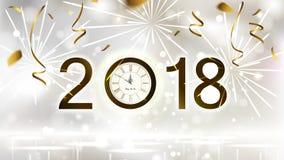 Οι διακοπές λάμπουν ελαφρύ υπόβαθρο με το χρυσό κομφετί, τα πυροτεχνήματα και την εορταστική ημερομηνία Νέα μεσάνυχτα έτους στο ρ διανυσματική απεικόνιση