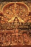 Οι διακοσμητικές γλυπτικές τοίχων, ναός Banteay Srey, Angkor περιοχή, Siem συγκεντρώνουν, Καμπότζη Στοκ εικόνες με δικαίωμα ελεύθερης χρήσης