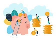 Οι διανυσματικές επίπεδες απεικονίσεις, μεγάλη piggy τράπεζα στο άσπρο υπόβαθρο, χρηματοπιστωτικές υπηρεσίες, τραπεζίτες κάνουν τ απεικόνιση αποθεμάτων