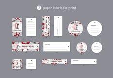 Οι διανυσματικές ετικέτες ιματισμού εγγράφου για την τυπωμένη ύλη με το σχέδιο παρουσιάζουν και κορδέλλες στοκ εικόνες