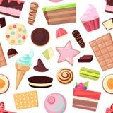 Οι διανυσματικές καραμέλες σοκολάτας γλυκών βιομηχανιών ζαχαρωδών προϊόντων και το γλυκό επιδόρπιο παρασκευής στην απεικόνιση can διανυσματική απεικόνιση