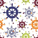 Οι διανυσματικές πολύχρωμες ρόδες επαναλαμβάνουν το άνευ ραφής σχέδιο με τα αστέρια και τους κύκλους στο άσπρο υπόβαθρο απεικόνιση αποθεμάτων