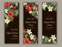 Οι διανυσματικοί σελιδοδείκτες με τα πράσινα τροπικά φύλλα, το plumeria, το strelitzia και hibiscus ανθίζουν στο μαύρο υπόβαθρο ελεύθερη απεικόνιση δικαιώματος