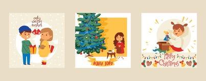 Οι διανυσματικοί φίλοι αγοριών και κοριτσιών ευχετήριων καρτών καλής χρονιάς Χριστουγέννων 2019 γιορτάζουν μαζί τις διακοπές εμβλ απεικόνιση αποθεμάτων