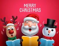 Οι διανυσματικοί χαρακτήρες Χριστουγέννων συμπαθούν τα κάλαντα Χριστουγέννων τραγουδιού Άγιου Βασίλη, ταράνδων και χιονανθρώπων ελεύθερη απεικόνιση δικαιώματος