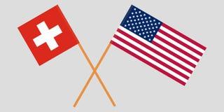 Οι διαπραγματεύσεις της Ελβετίας και των Ηνωμένων Πολιτειών Σημαίες που διασχίζονται διάνυσμα Στοκ Φωτογραφίες