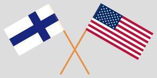 Οι διαπραγματεύσεις της Φινλανδίας και των Ηνωμένων Πολιτειών Σημαίες που διασχίζονται διάνυσμα Στοκ φωτογραφία με δικαίωμα ελεύθερης χρήσης
