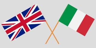 Οι διασχισμένες σημαίες του UK και της Ιταλίας Επίσημα χρώματα Αναλογία σωστά διάνυσμα στοκ φωτογραφία με δικαίωμα ελεύθερης χρήσης