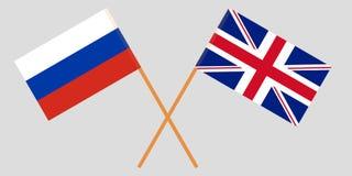 Οι διασχισμένες σημαίες του UK και της Ρωσίας διάνυσμα Στοκ φωτογραφία με δικαίωμα ελεύθερης χρήσης