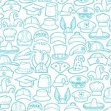 Οι διαφορετικοί τύποι καπέλων λεπταίνουν τα εικονίδια γραμμών καθορισμένα ελεύθερη απεικόνιση δικαιώματος