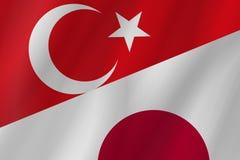 Οι δύο σημαίες χωρών της Τουρκικής Δημοκρατίας και της Ιαπωνίας στοκ φωτογραφία με δικαίωμα ελεύθερης χρήσης