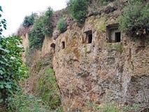 Οι είσοδοι τάφων στον τοίχο απότομων βράχων του α μέσω της κοίλης φλέβας, ένας αρχαίος δρόμος Etruscan χάρασαν μέσω των απότομων  στοκ εικόνες με δικαίωμα ελεύθερης χρήσης
