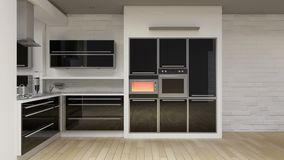Οι εγχώριες συσκευές δωματίων κουζινών ελέγχουν, φούρνος, πλυντήριο πιάτων, μικρόκυμα, εξαεριστήρας, έξυπνος εγχώριος έλεγχος, Δι ελεύθερη απεικόνιση δικαιώματος