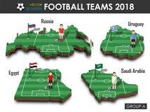Οι εθνικές ομάδες το 2018 ποδοσφαίρου ομαδοποιούν το Α Ποδοσφαιριστής και σημαία στον τρισδιάστατο χάρτη χωρών σχεδίου Απομονωμέν ελεύθερη απεικόνιση δικαιώματος