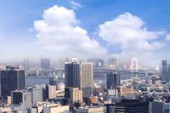 Οι εικονικές παραστάσεις πόλης του Τόκιο, εναέρια άποψη ουρανοξυστών πόλεων του γραφείου χτίζουν Στοκ Φωτογραφία