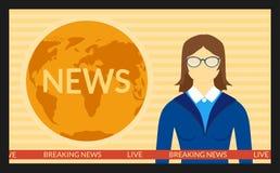 Οι ειδήσεις στη TV οθόνης Στοκ Εικόνες