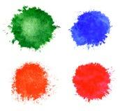 Οι λεκέδες Watercolor θέτουν 4 σε 1 Στοκ εικόνες με δικαίωμα ελεύθερης χρήσης