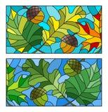 Οι λεκιασμένες απεικονίσεις γυαλιού με τα φύλλα του σφενδάμνου, βαλανιδιά, και βελανίδια Στοκ Φωτογραφίες